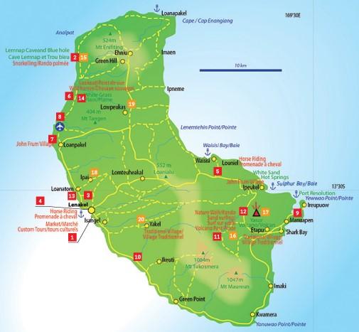 Carte île de Tanna Volcan Yasur