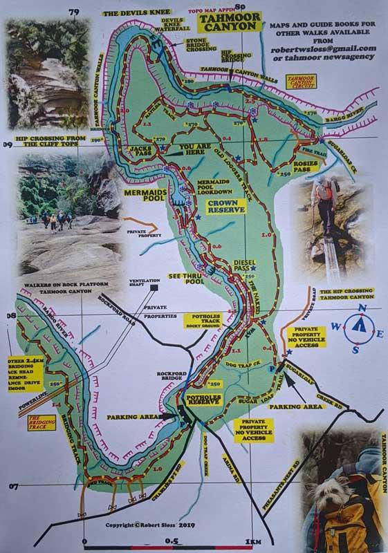 Carte de la randonnée jusqu'à la Mermaids Pool et la Tahmoor Gorge