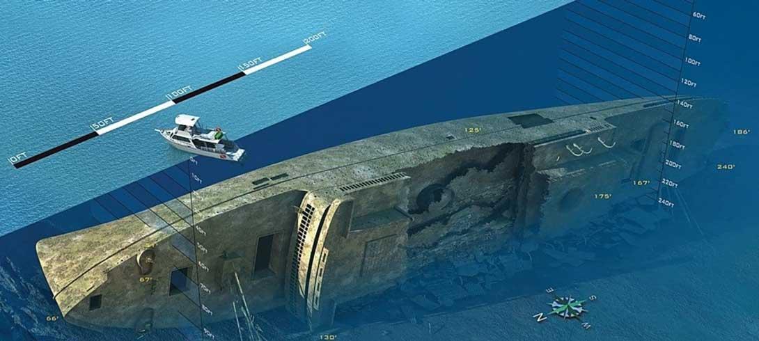 Carte de l'épave du SS President Coolidge - Copyright Pacific Dive