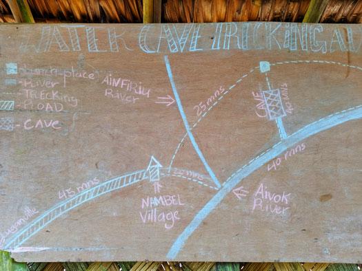 Carte expliquant la randonnée jusqu'à la grotte