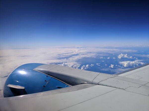 Vue du ciel en plein vol avec Air Vanuatu