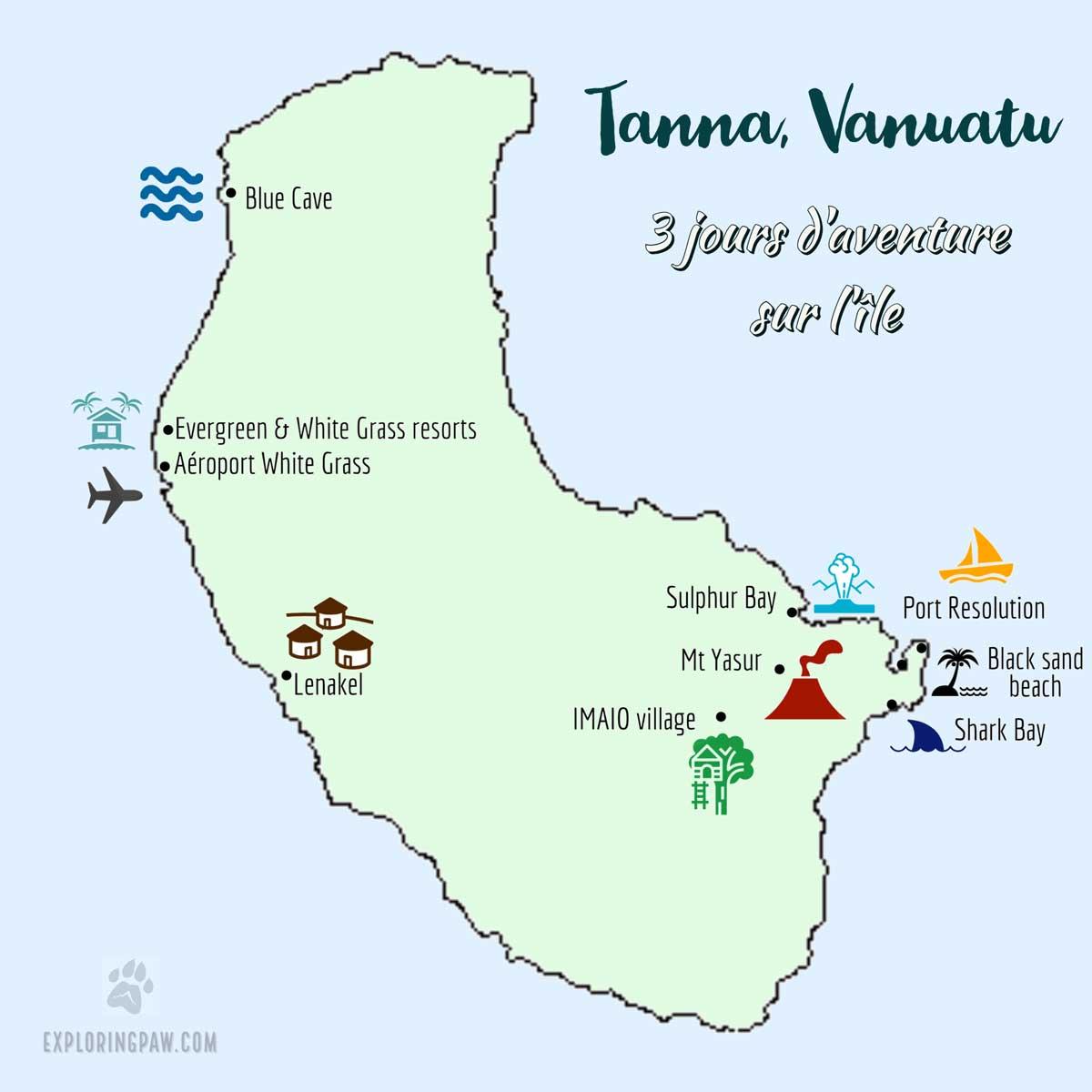 Carte de Tanna au Vanuatu avec les différentes expériences faites