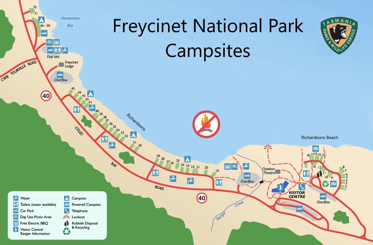 Carte du camping de Freycinet National Park