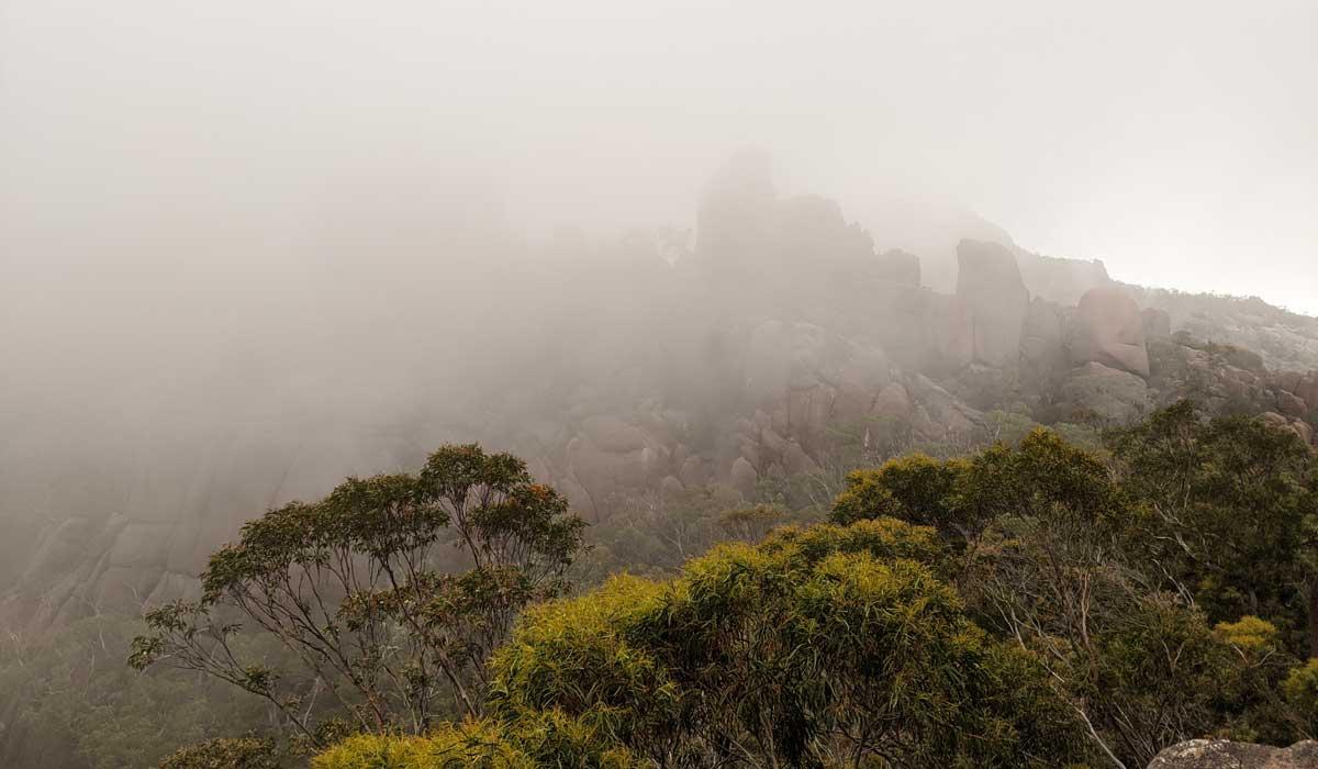 Brume et nuages sur le chemin du Wineglass Bay lookout