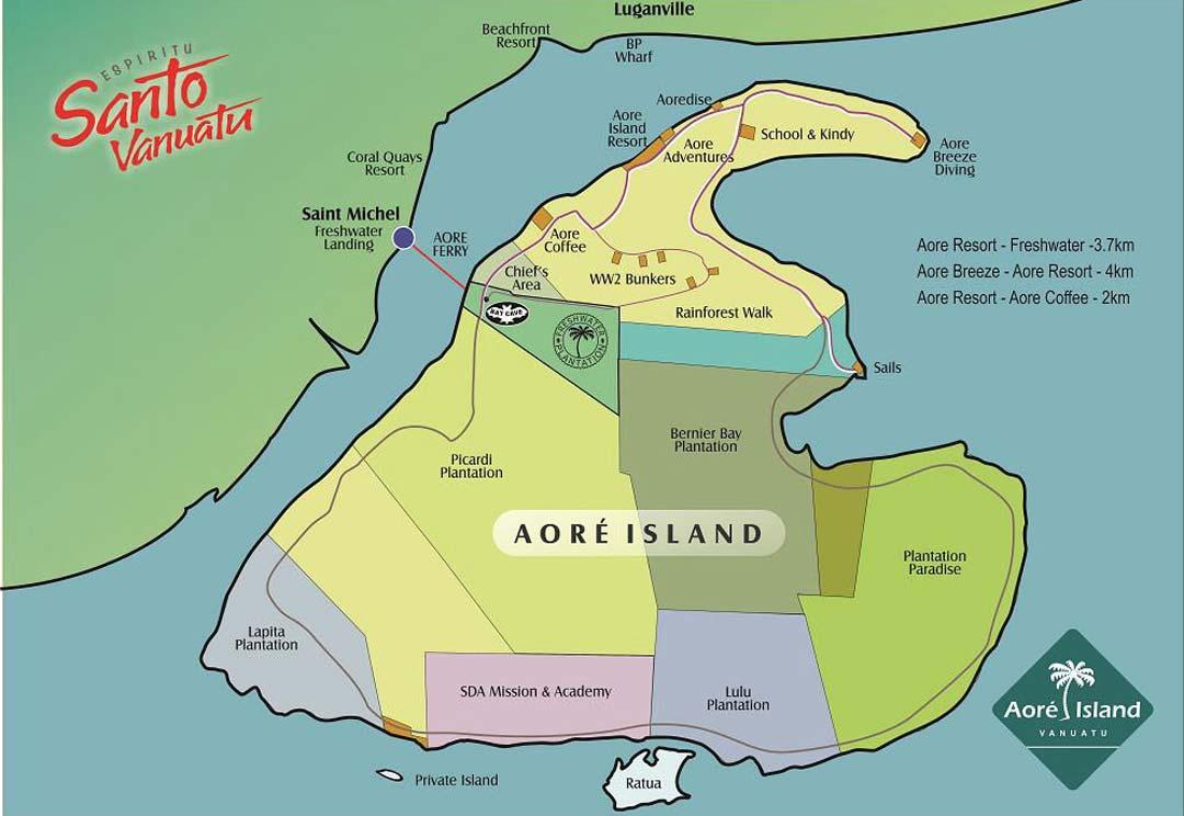 Carte de l'île Aore Island à Luganville sur Espiritu Santo - Copyright Freshwater Plantation
