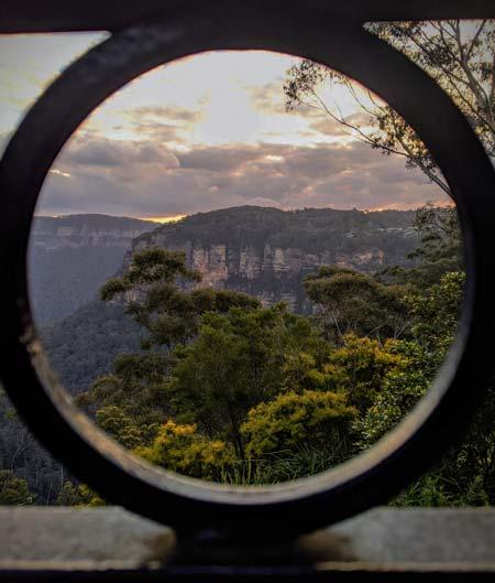 Vue depuis le restaurant sur les Blue Mountains à Katoomba