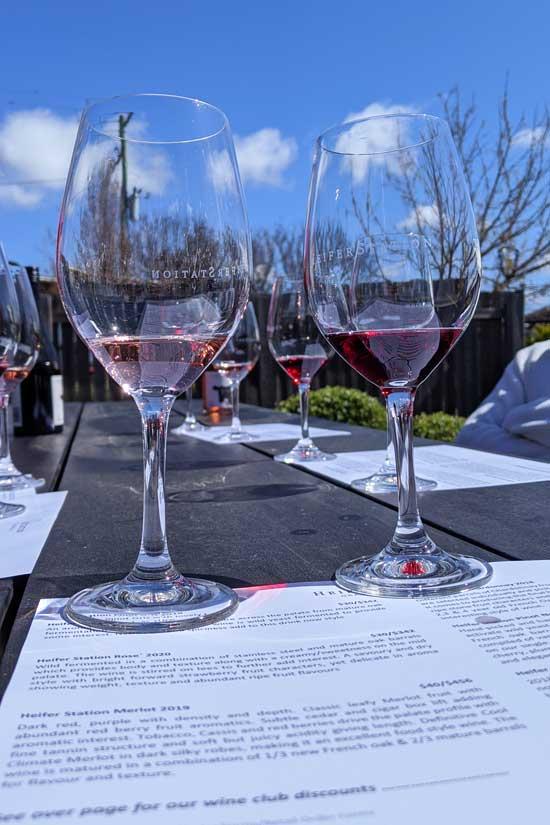 Dégustation de vin rouge à Orange dans le domaine viticole Heifer Station