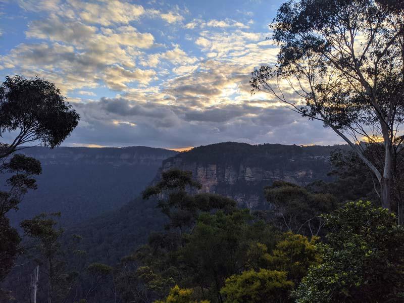 Les Blue Mountains au coucher de Soleil à Katoomba