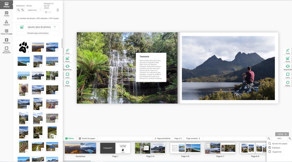 Interface drag and drop Colorland pour créer son album photo en ligne