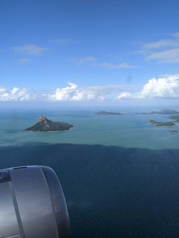 Les Whitsundays vues de l'hublot de l'avion